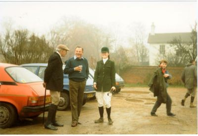 Hunting with beagles at the Tickell arms with the then owner Kim De La Taste Tickell